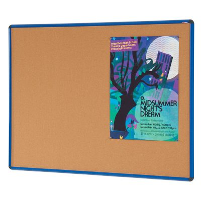 blue frame cork notice pin board