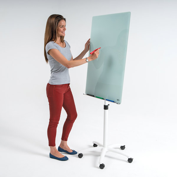 Glass Flip Chart Easel Mobile With Magnetic Dry Wipe Surface